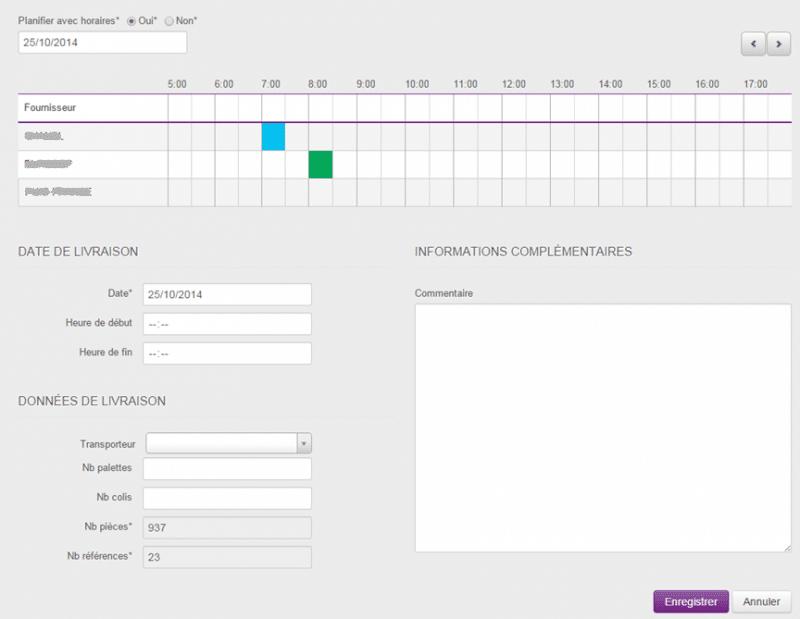 Application planification livraison MARIONNAUD
