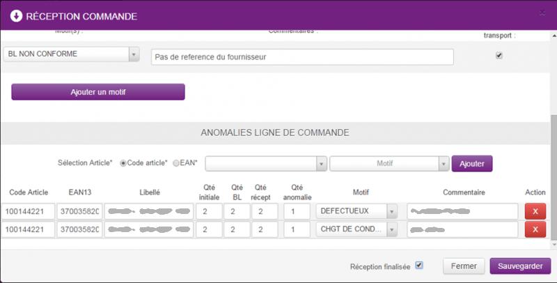 Application gestion des réceptions MARIONNAUD